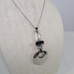 Jewelry - Silver Pendant and Crystal Adjustable Necklace